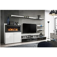 White High Gloss TV Entertainment Unit with Fireplace & Storage - TV's up to 70