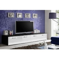 Black TV Entertainment Unit with White High Gloss Drawers - TV's up to 70