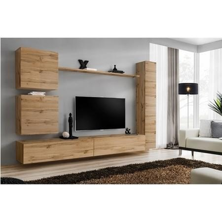 "Wooden Floating TV Entertainment Unit - TV's up to 50"" - Neo"