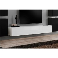 Large Wall Mounted TV Unit in White High Gloss - TV's up to 56