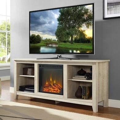 Foster Light Wood Effect TV Unit with Electric Fire & Shelves