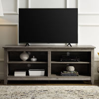 Foster Grey Wooden TV Unit with Open Shelves - TV's up to 60
