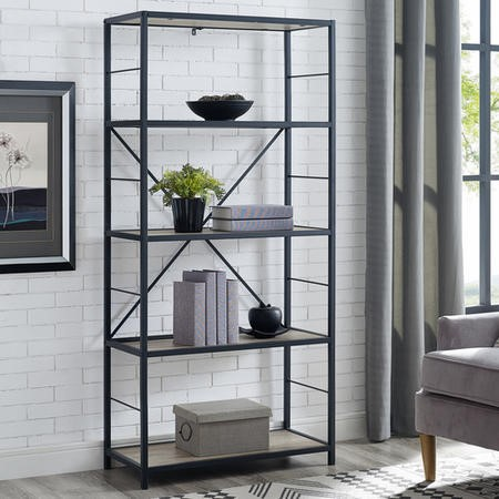Grey Wooden Effect Bookcase - Foster