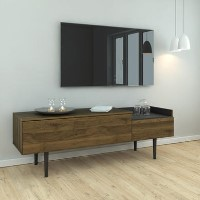 Unit TV Stand with 2 Drawers in Walnut and Black
