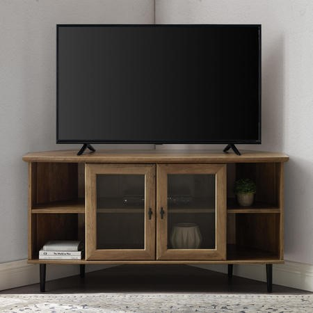 "Oak Effect Corner TV Unit with Storage - TVs up to 52"" - Foster"