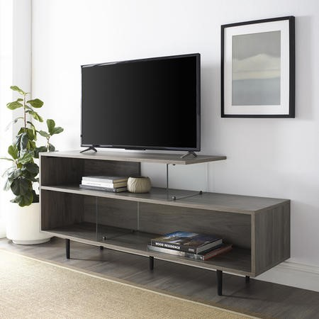 "Grey Wash TV Stand with Open Shelves & Glass Panels - TVs up to 60"" - Foster"