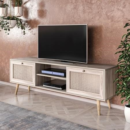 Patara TV Stand with Rattan Weaved Doors
