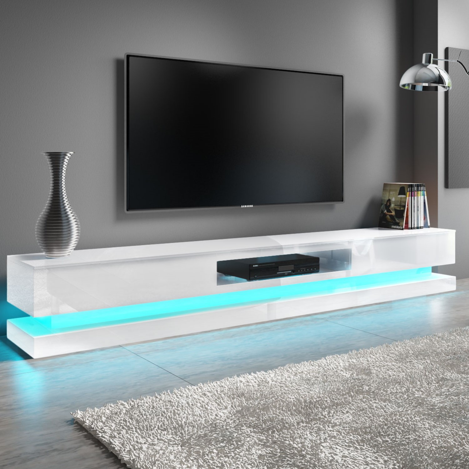 size 40 9a8dc 0a19b Details about Modern White High Gloss TV Unit LED Lights Cabinet Stand Large