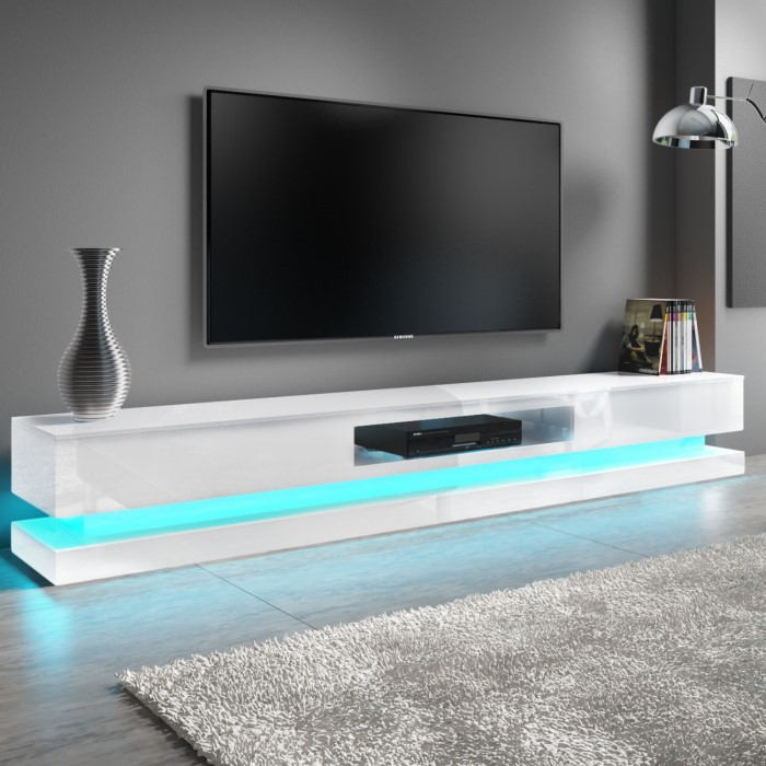 Evoque Large White High Gloss Tv Unit Stand With Led Lighting