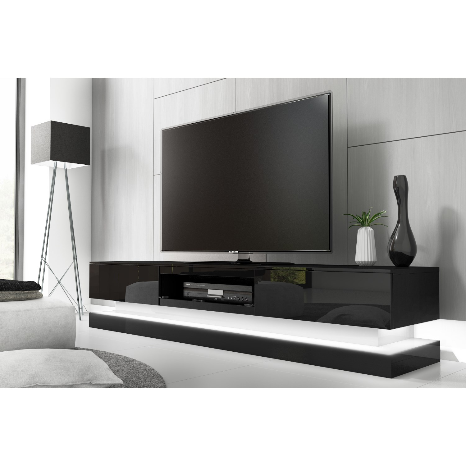 Modern Black High Gloss Tv Unit With Led Lights Entertainment