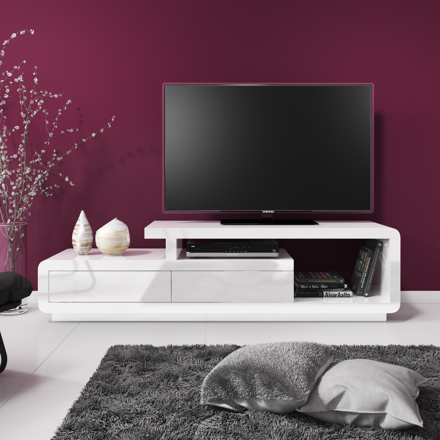 white gloss tv stand Evoque White High Gloss TV Unit Stand with Storage Drawers  white gloss tv stand