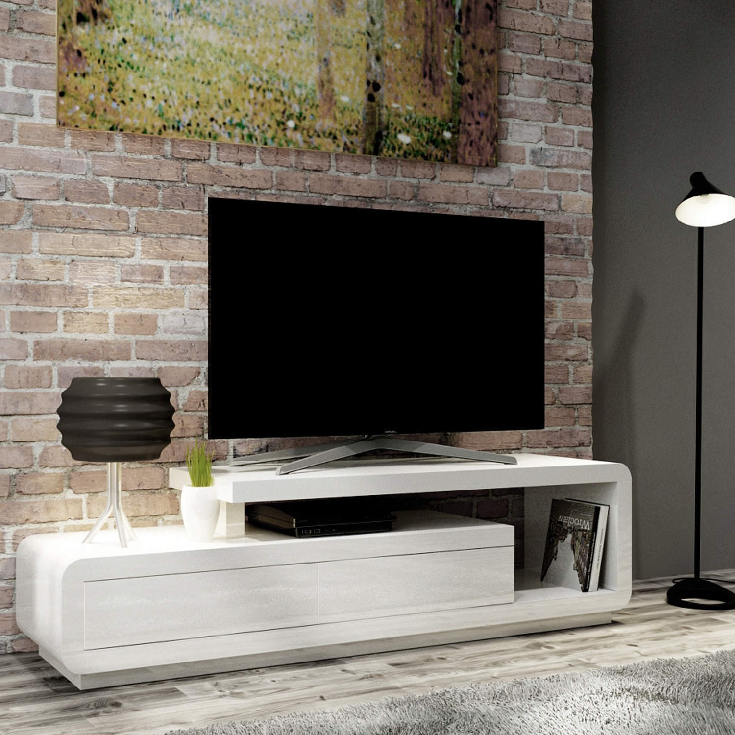 Evoque White High Gloss Tv Unit Stand With Storage Drawers