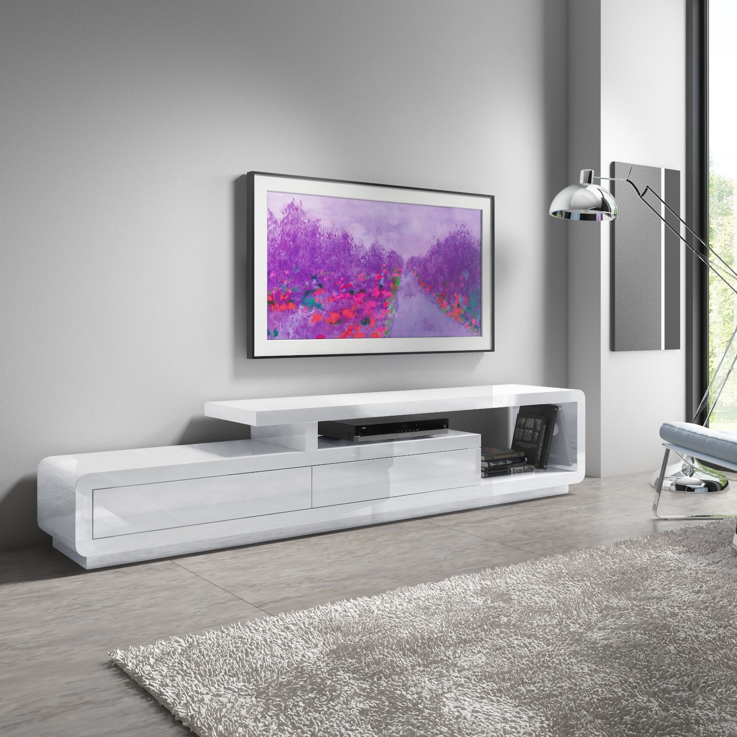 promo code ffb1a 62046 Details about Evoque XL White High Gloss TV Unit with Touch Open Drawers -  TV's FOL300303_E_XL