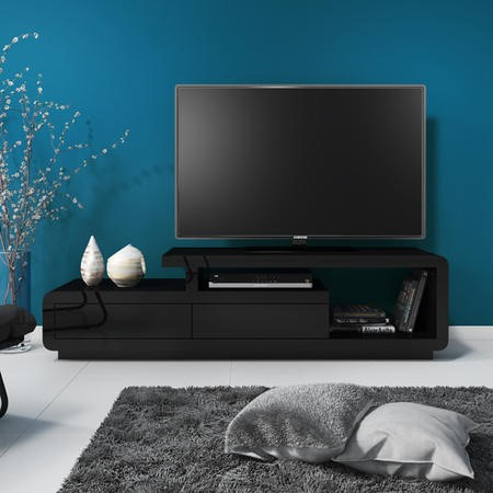 Evoque Black High Gloss TV Unit with Touch Open Drawers