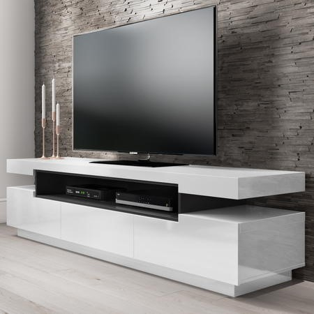 Harlow White High Gloss TV Unit with Soundbar Shelf - TV's up to 56""