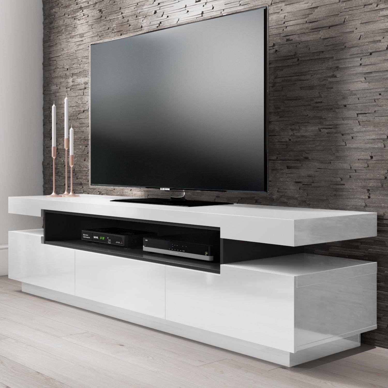 timeless design ff8b9 26861 Harlow White High Gloss TV Unit with Soundbar Shelf - TV's up to 70
