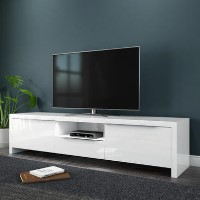 White High Gloss TV Unit Stand with LED Lighting TVs up to 70 inch - Evoque