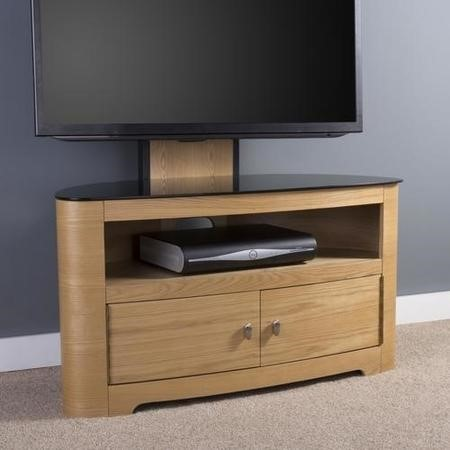 Blenheim Affinity Curved Combi TV Stand 1000 Oak / Black Glass