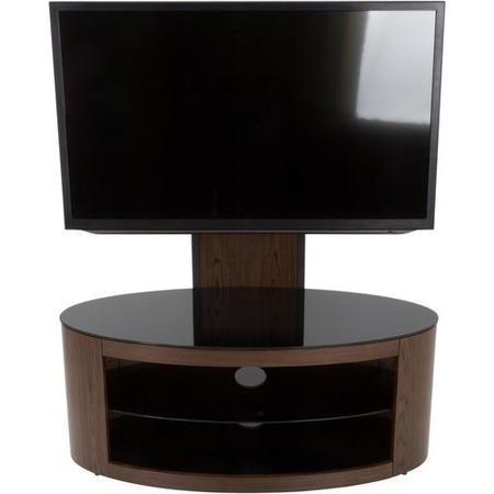 Buckingham Affinity Oval Combi TV Stand 1000 Walnut / Black Glass