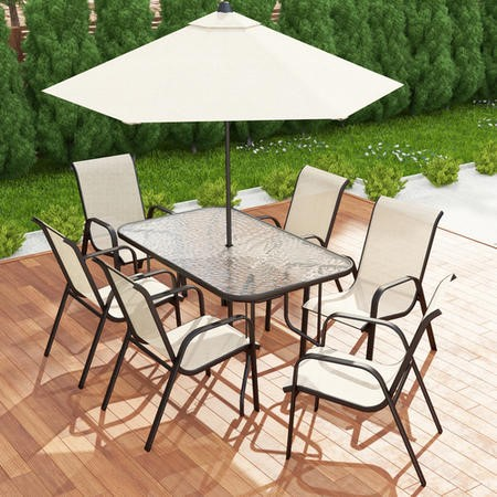 Fortrose Brown Metal And Cream 6 Seater Patio Set Ftr007 Appliances Direct