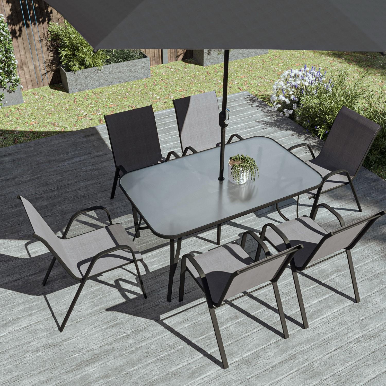 Black & Grey Metal 6 Seater Garden Furniture Set - Parasol ...