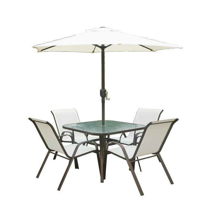Brown Metal And Cream 4 Seater Garden Furnitue Dining Set Parasol Included