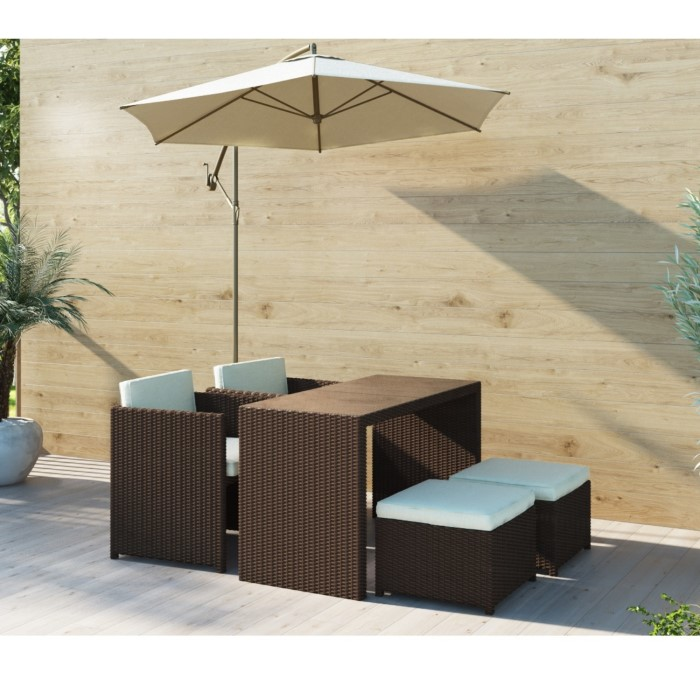 Brown Rattan Garden Furniture - Garden Table and 4 Chairs + Cushions  Included FTR012 - Brown Rattan Garden Furniture - Garden Table And 4 Chairs + Cushions