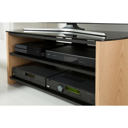 "Alphason FW1100-W/B Finewoods Walnut HiFi and TV Stand for up to 50"" TVs"