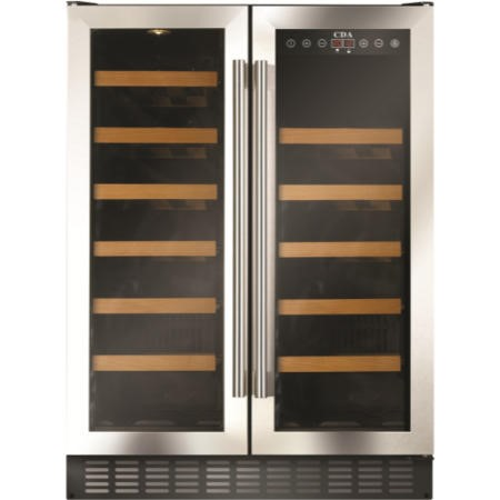 CDA FWC623SS 60cm Wide Freestanding Under Counter Double Door Wine Cooler Stainless Steel