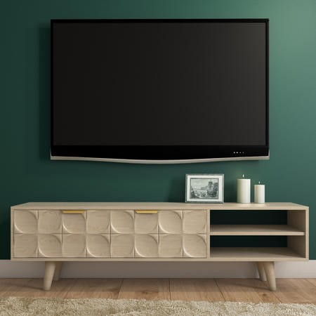 ae8ea3346b4cb Freya Large Solid Wood TV Unit in Light Wash with Gold Detail FYA002 ...