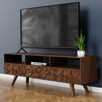 Large Dark Wood TV Stand Mid Century - TV's up to 56