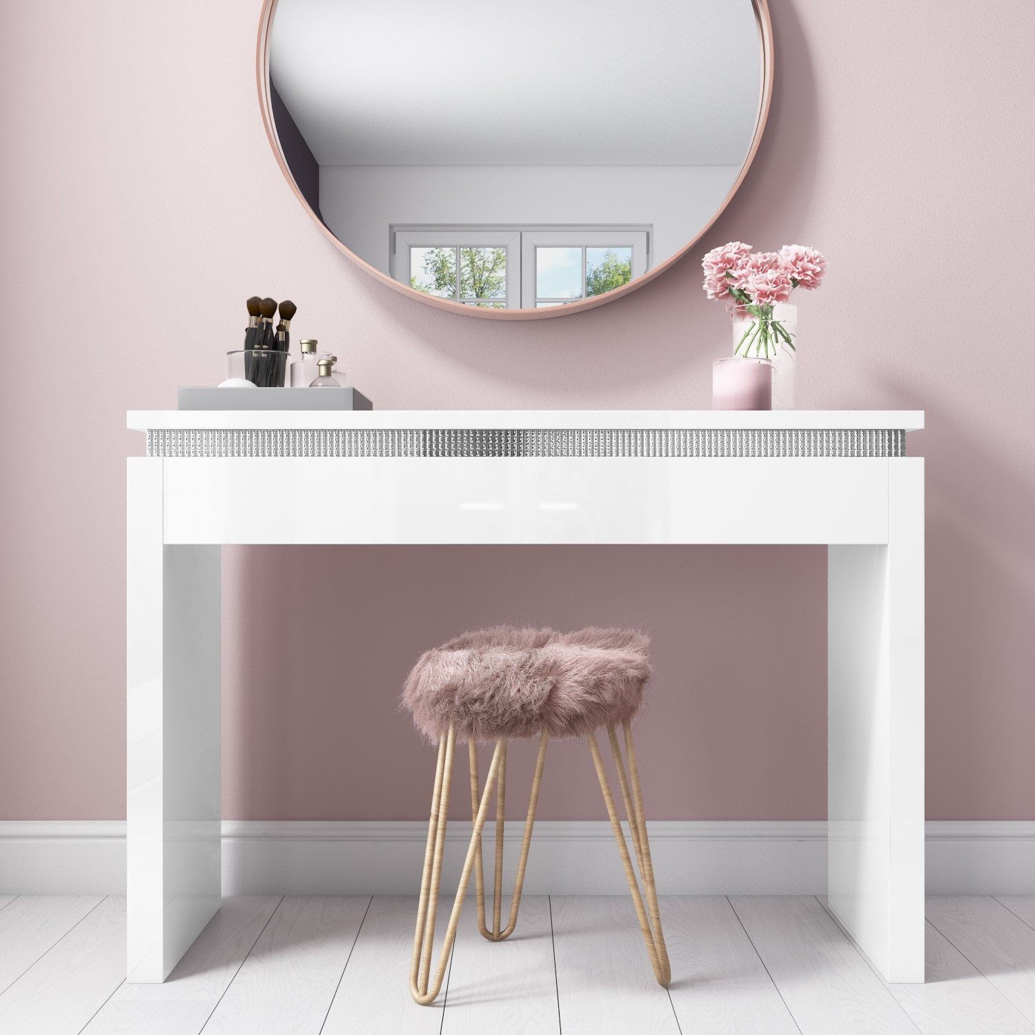 Modern White Dressing Table: Modern White High Gloss Dressing Table Console Diamante