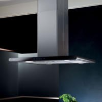 Elica GXY-ISL-SS-BLK Galaxy Stainless Steel and Black Glass 90cm Island Cooker Hood
