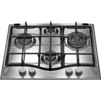 Hotpoint GF641TX 60cm Four Burner Gas Hob With Cast Iron Pan Stands - Stainless Steel