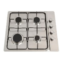Montpellier GH60X 60cm Four Burner Gas Hob - Stainless Steel With Enamel Pan Supports