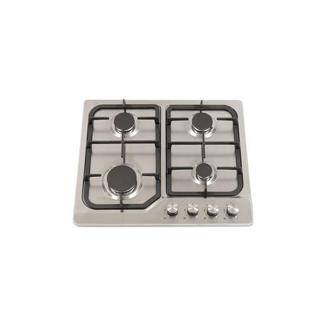 Montpellier GH61X 60cm Four Burner Gas Hob - Stainless Steel With Cast Iron Pan Supports