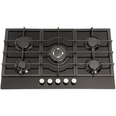 Montpellier GH90BG 86cm Five Burner Gas-on-glass Hob - Black With Cast Iron Pan Supports