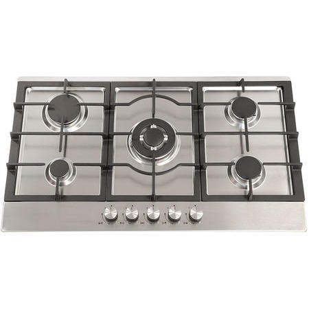 Montpellier GH91X 86cm Five Burner Gas Hob - Stainless Steel With Cast Iron Pan Supports