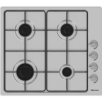 Hisense GM642XSUK 60cm Rotary Control Gas Hob With Enamel Pan Stands - Stainless Steel