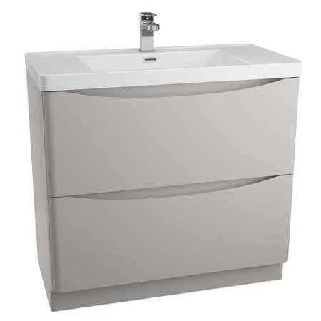 Cresta Stone Grey Freestanding Basin Vanity Unit - Includes Polymarble Basin - 900mm
