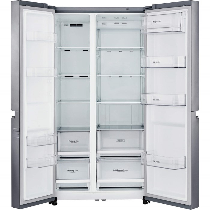 LG GSB760PZXV Frost Free Side-by-side American Fridge Freezer - Shiny Steel