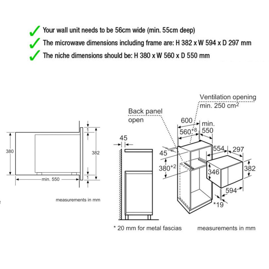 Neff H11WE60N0G 800W 20L Built-in Standard Microwave In