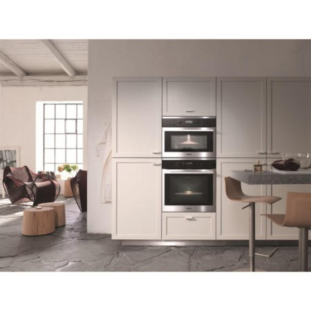 Miele H6160BPclst EasyControl 8 Function Electric Built-in Single Oven With MoisturePlus And Pyrolytic Cleaning CleanSteel