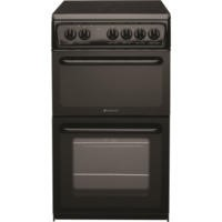 Hotpoint HAE51KS 50cm Wide Double Cavity Electric Cooker With Ceramic Hob Black