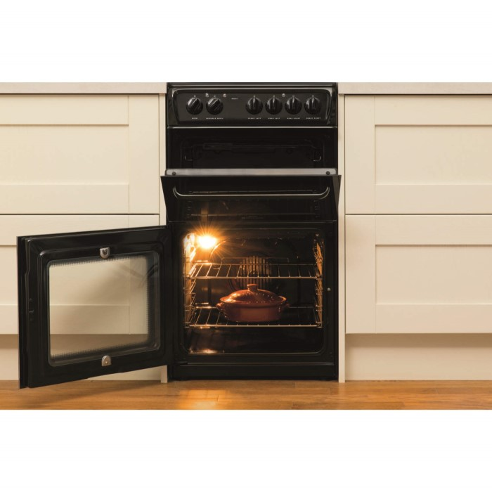 Hotpoint hae51ks 50cm wide double cavity electric cooker for Kitchen cabinets 50cm wide