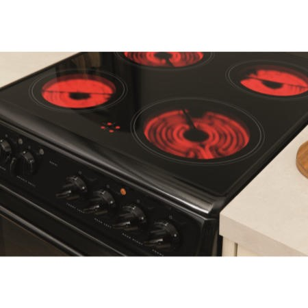 Hotpoint HAE51KS 50cm Double Cavity Electric Cooker With Ceramic Hob Black