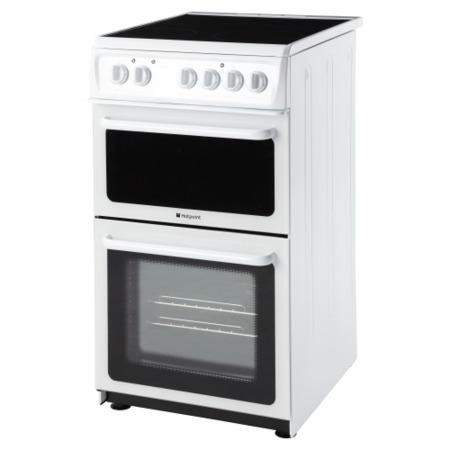 Hotpoint HAE51PS 50cm Double Cavity Electric Cooker With Ceramic Hob White