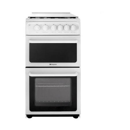 Hotpoint HAGL51P 50cm Double Cavity Gas Cooker - White