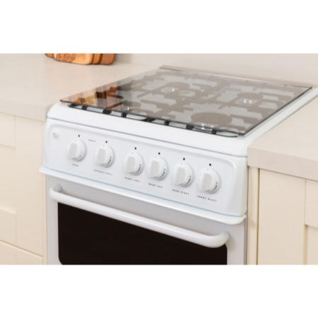 Hotpoint HAGL51P 50cm Double Cavity Gas Cooker White