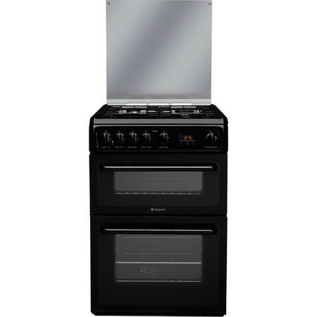Hotpoint HAGL60K 60cm Double Oven Gas Cooker With Lid - Black
